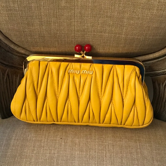 e08787e77102 Miu Miu Matelasse Frame Clutch Yellow Leather